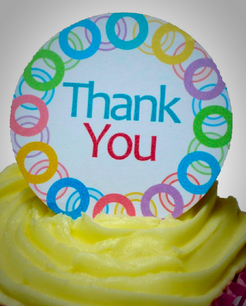Edible cake toppers decoration - Thank you chain
